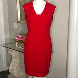 Calvin Klein Red Sheath Dress, Size 8